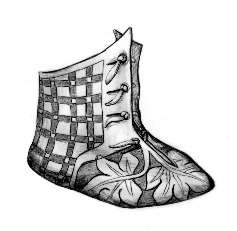 Fig. 2 Reconstitution de la bottine de Saint-Ursanne. Dessin Marquita Volken / Gentle Craft