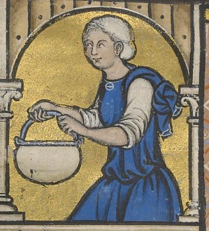 Fig. - Servant apportant de l'eau pour le bain de Bethsabée. Photo morgan Library. NY, Morgan Library, The Crusader Bible, Ms M.638 f. 41v.